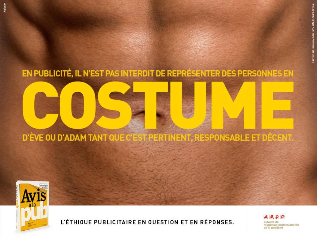 ARPP - Avis à la pub - Costume - Agence Josiane