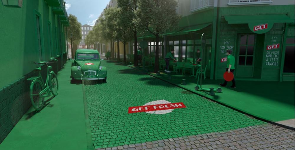 Get 27 repeint une rue de Paris avec une peinture qui baisse la température